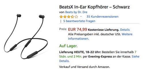 BeatsX In-Ear Bluetooth-Kopfhörer, Satin Silber oder Schwarz - jetzt 6% billiger
