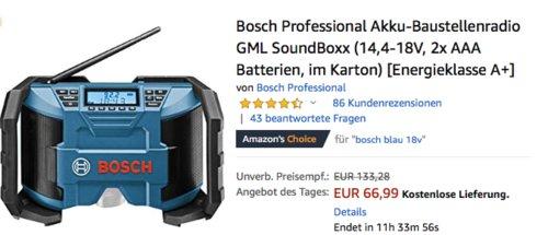 "Bosch Professional Akku-Baustellenradio ""GML SoundBoxx"" ohne Akku - jetzt 31% billiger"