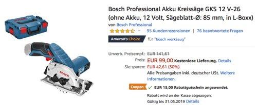 Bosch Professional Akku-Kreissäge GKS 12 V-26 in L-Boxx (ohne Akku) - jetzt 15% billiger