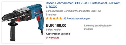 Bosch Professional Bohrhammer GBH 2-28 F inkl. Schnellwechsel-Bohrfutter|Wechselfutter und L-BOXX - jetzt 15% billiger