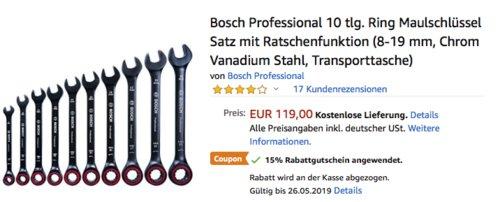 Bosch Professional Ring-Maulschlüsselsatz (8-19 mm) mit Ratschenfunktion, 10-teilig - jetzt 15% billiger