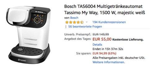 """Bosch TAS6004 Multigetränkeautomat """"Tassimo My Way"""", Kapselmaschine für über 40 Getränke beliebter Marken - jetzt 15% billiger"""