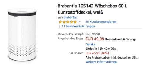 Brabantia 105142 Wäschebox 60 L mit Kunststoffdeckel, weiß - jetzt 20% billiger