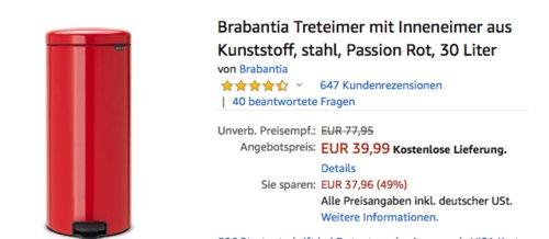 """Brabantia Treteimer """"NewIcon"""" mit Inneneimer in Passion Rot, 30 Liter - jetzt 25% billiger"""