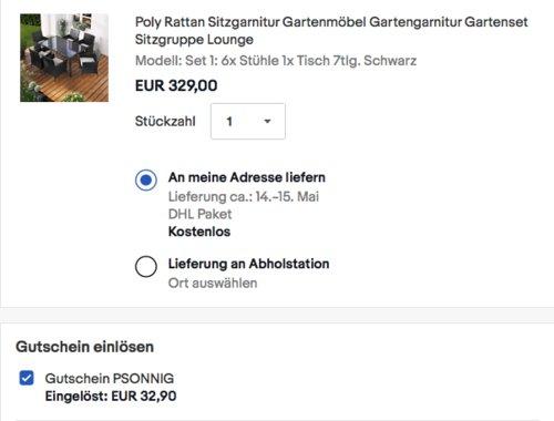 """BRAST Poly Rattan Sitzgarnitur """"Elegance""""in Schwarz, 7-teilig - jetzt 10% billiger"""