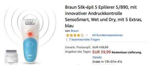 Braun Silk-épil 5 Epilierer 5/890 Wet und Dry mit 5 Extras, blau - jetzt 24% billiger