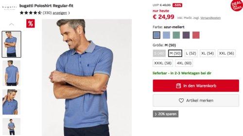 bugatti Herren Poloshirt Regular-fit iv versch. Farben und Größen - jetzt 35% billiger