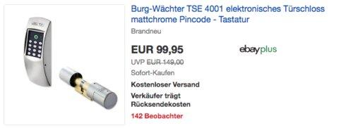 Burg-Wächter TSE 4001 elektronisches Türschloss mit Pincode - Tastatur, mattchrome - jetzt 16% billiger