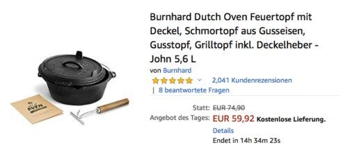 """Burnhard Dutch Oven """"John"""", 5,6 Liter Feuertopf mit Deckel - jetzt 20% billiger"""
