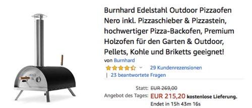 """Burnhard Edelstahl Outdoor Pizzaofen """"Nero"""" inkl. Pizzaschieber & Pizzastein - jetzt 14% billiger"""