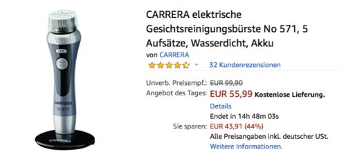 CARRERA elektrische Gesichtsreinigungsbürste No 571 mit 5 Aufsätzen - jetzt 14% billiger