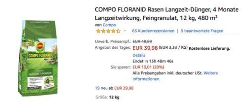 COMPO FLORANID Rasen Langzeit-Dünger 12kg,  480 m² - jetzt 19% billiger