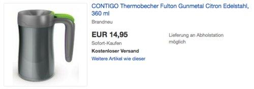 "CONTIGO Edelstahl-Thermobecher ""Fulton"" Citron, 360 ml - jetzt 40% billiger"
