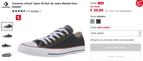"Converse ""Chuck Taylor All Star Ox Jeans Washed Out"" Unisex-Erwachsene Sneaker, schwarz oder blaugrau - jetzt 22% billiger"