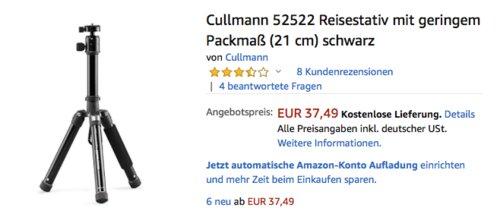 Cullmann 52522 Reisestativ mit geringem Packmaß (21 cm), 78 cm hoch - jetzt 20% billiger