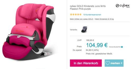 cybex GOLD Kindersitz Juno M-fix inPink oderGrey, Gruppe 1 (9 bis 18 kg) - jetzt 22% billiger