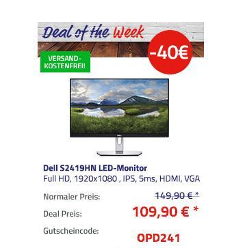 "Dell S2419HN LED-Monitor (23,8"") 60,5 cm (1920x1080 , IPS, 5ms, Lautsprecher) - jetzt 27% billiger"