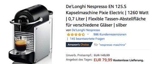 "De'Longhi Nespresso EN 125.S Kapselmaschine ""Pixie Electric"", silber - jetzt 21% billiger"