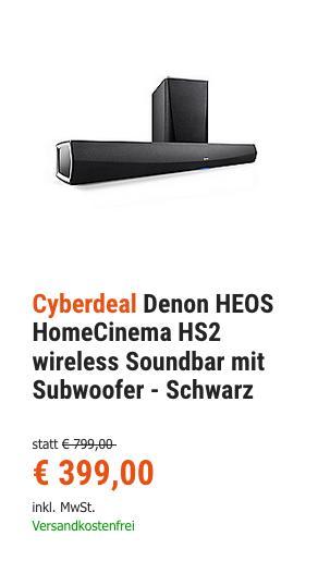 Denon HEOS Home Cinema HS2 Soundbar mit Subwoofer - jetzt 24% billiger