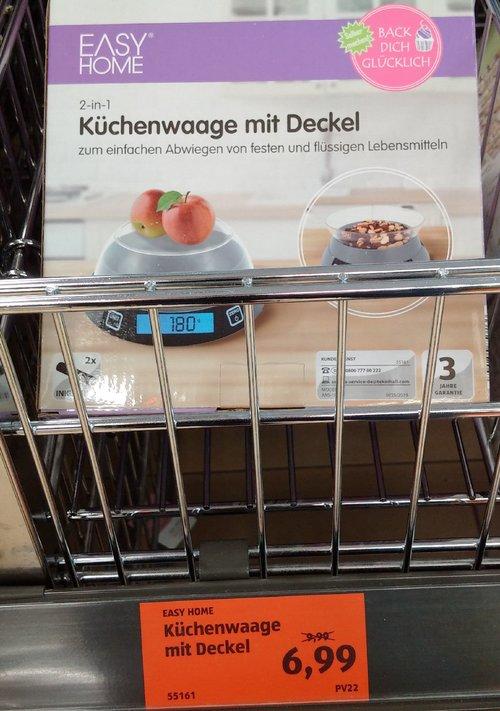 EASY HOME 2 in 1 Küchenwaage mit Deckel - jetzt 30% billiger