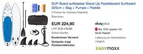 EASYmaxx SUP aufblasbares 320 cm Stand-Up Paddle-Board inkl. Zubehör - jetzt 25% billiger