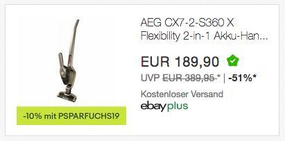 Ebay - 10% Rabatt auf Haushaltsgeräte: z.B. AEG CX7-2-S360 X Flexibility 2-in-1 Akku-Handstaubsauger - jetzt 10% billiger