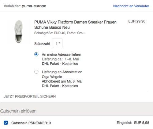 eBay 20% Gutschein auf Schuhe: z.B. PUMA Vikky Platform Damen Sneaker, grau oder schwarz - jetzt 20% billiger