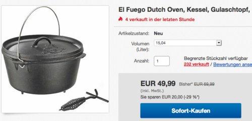El Fuego 15,04 Liter Dutch Oven mit Standfüßen - jetzt 18% billiger