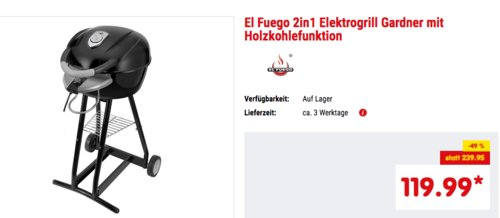 """El Fuego 2in1 Elektrogrill """"Gardner"""" mit Holzkohlefunktion - jetzt 17% billiger"""