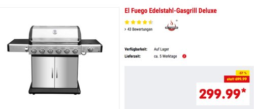 "El Fuego Edelstahl-Gasgrill ""Deluxe"",  6+1 Brenner, 21,08 kW - jetzt 9% billiger"
