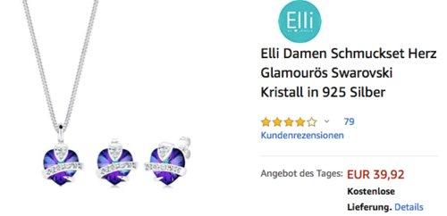 """Elli Damen Schmuckset """"Herz"""" Lila, Swarovski Kristall, 925 Silber - jetzt 11% billiger"""