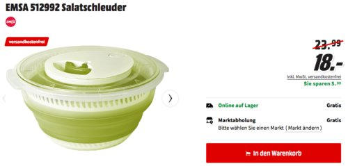 Emsa 512991 Falt-Salatschleuder 4,0 L, grün - jetzt 18% billiger