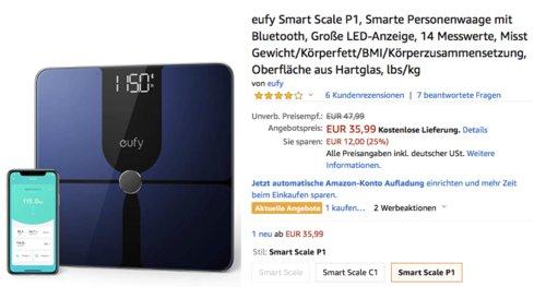 eufy Smart Scale P1 Personenwaage mit Bluetooth, schwarz - jetzt 24% billiger