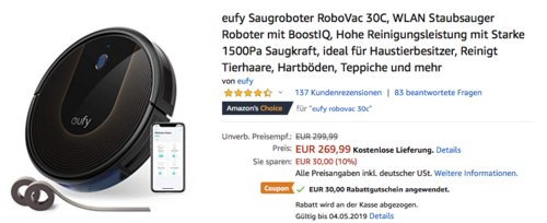 eufy WLAN-Saugroboter RoboVac 30C - jetzt 11% billiger