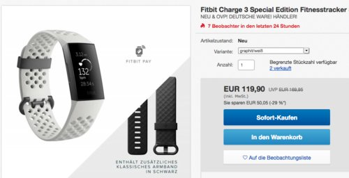 Fitbit Charge 3 Special Edition Fitnesstracker (S-L) in Graphit/Grau - jetzt 8% billiger