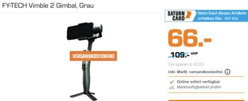 FY-TECH Vimble 2 Gimbal für Smartphones mit einer Breite von 57 mm bis 84 mm, grau - jetzt 11% billiger