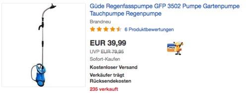 Güde GFP 3502 Regenfasspumpe, 3000 l/h - jetzt 16% billiger