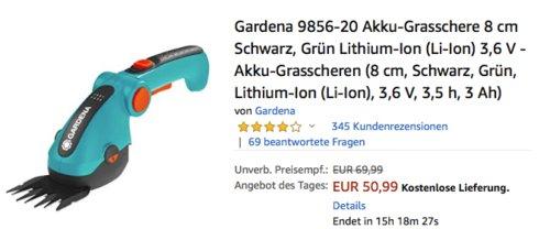 Gardena 9856-20 Akku-Grasschere, 8 cm Arbeitsbreite - jetzt 17% billiger