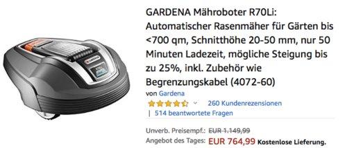 GARDENA Mähroboter R70Li, geiegnet für Gärten bis max. 700m² - jetzt 4% billiger
