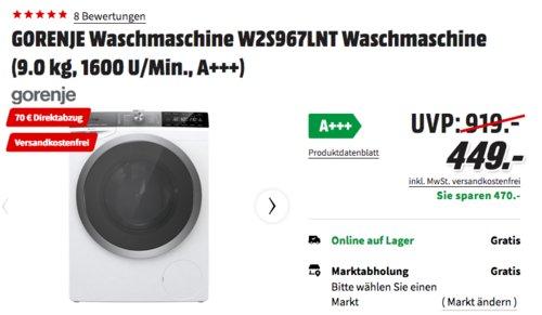 GORENJE Waschmaschine W2S967LNT (9.0 kg, 1600 U/Min., A+++) - jetzt 16% billiger