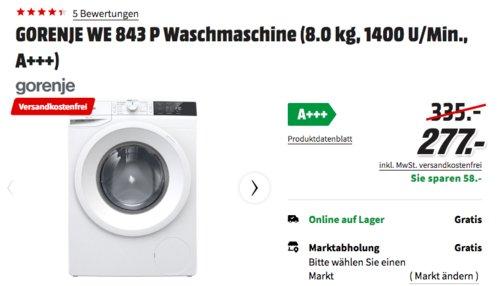 GORENJE WE 843 P Waschmaschine (8.0 kg, 1400 U/Min., A+++) - jetzt 17% billiger