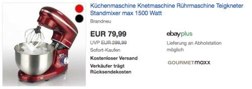 GOURMETmaxx 1500W Küchenmaschine, rot oder schwarz - jetzt 38% billiger