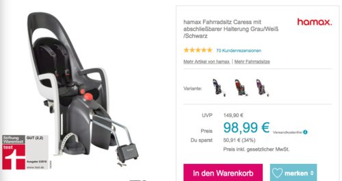 hamax Fahrradsitz Caress mit abschließbarer Halterung, grau/weiß/schwarz - jetzt 10% billiger