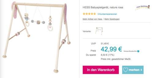 Hess 13382 - Spielbogen aus Holz, nature rosa - jetzt 17% billiger