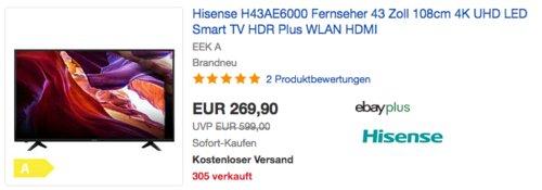 Hisense H43AE6000 43 Zoll 4K-Fernseher - jetzt 19% billiger