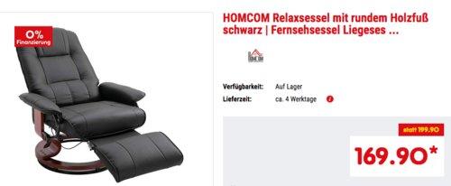 HOMCOM Relaxsessel mit Fußablage, schwarz - jetzt 15% billiger