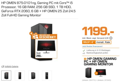 HP OMEN 875-0101ng Gaming PC (i5, 16 GB RAM, 256 GB SSD, 1 TB HDD, GeForce RTX 2060 6 GB) inkl. HP OMEN 25 Full-HD 24.5 Zoll Gaming Monitor - jetzt 13% billiger