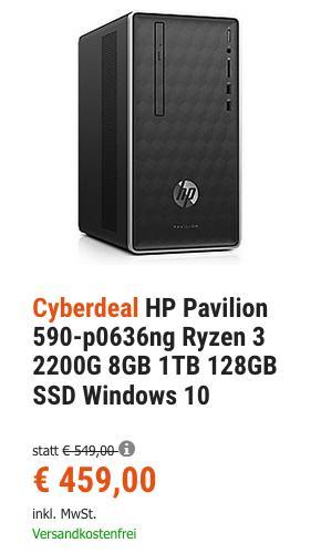 HP Pavilion 590-p0636ng Desktop-PC (AMD Ryzen 3 2200G, 8GB, 1TB, 128GB SSD, Windows 10) - jetzt 9% billiger