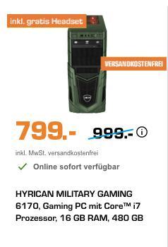 HYRICAN MILITARY GAMING 6170 Gaming PC (i7, 16 GB RAM, 480 GB SSD, 2 TB HDD, Radeon™ RX 580 8 GB, Win 10) - jetzt 20% billiger