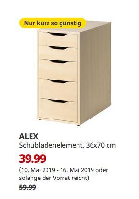 IKEA ALEX Schubladenelement, Birkenachbildung, 36x70 cm - jetzt 33% billiger
